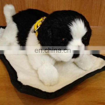 battery operated interaction plush sleeping dog and cat