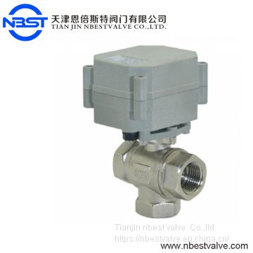 1/2 inch  3 Way Brass Electric Actuator T type Ball Valve
