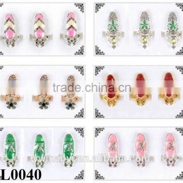 New Arrival Wholesale Fashion Crown Crystal Finger Nail Art Ring Jewelry Fake Nail Art L0039                                                                         Quality Choice