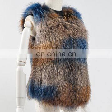 Winter fashion women colorful raccoon fur vest/gilet for ladies