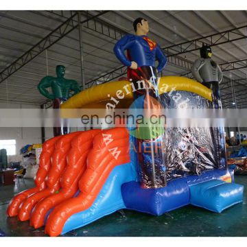 2017 popular inflatable air castle high quality vinyl inflatable castle hero jumping caster house with slide for sale