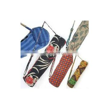 Vintage Old Kantha Quilt Gudri Yoga Mat Carrier Bags Wholesale India New kantha Quilt Yoga Mat bags wholesale Lot with Zipper