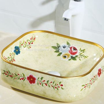 Made in china Modern new design hand draw flower bathroom ceramic color basin