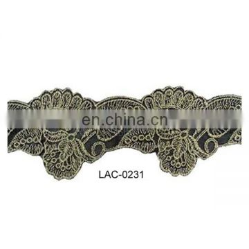 Latest Indian embroidery metallic lace with flower