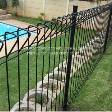 decorative steel yard fence panels green vinyl coated roll top fence for sale