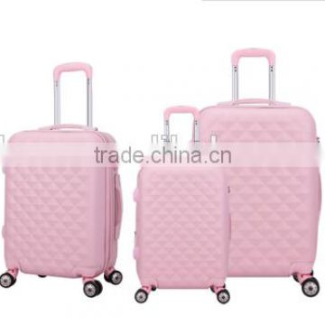 2016 new hot sale luggage set with spinner wheels, durable leisure and lovely girls pink abs trolley luggage suitcase