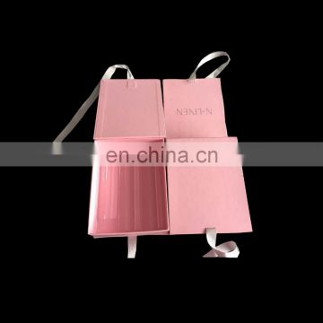 High quality ribbon folding box with custom logo and pvc lid