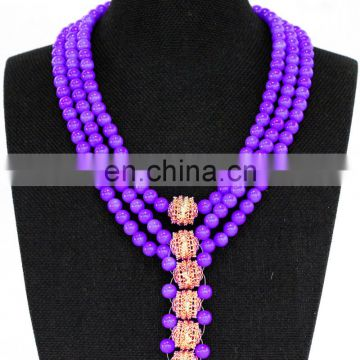 2017 Women's fashion costume jewelry set handmade party jewelry African coral bead necklace