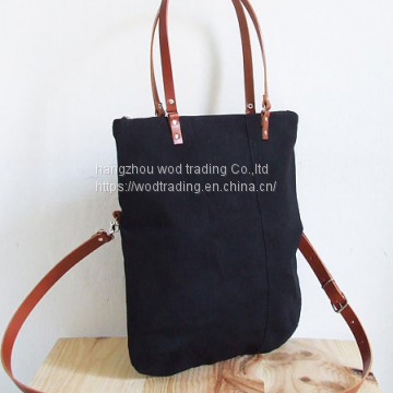 waxed canvas shoulder bag with leather straps from China