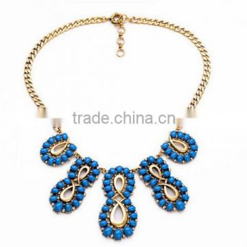Blue beads plant wholesale retail fashion jewelry 2015 trendy big choker necklaces wedding necklace Ethnic cc Fantasic new sale