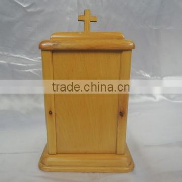 Chinese funeral supply european style Hand-crafted solid wood funeral urn wholesale for adult ashes