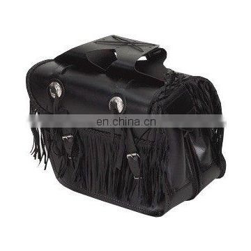 HMB-4025A LEATHER MOTORCYCLE SADDLE BAGS SET FRINGES STYLE