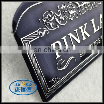 Cheap Customized Metal Crafts Aluminum Wine Label with Protective Film