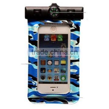 Military camouflage PVC waterproof phone pouch with compass