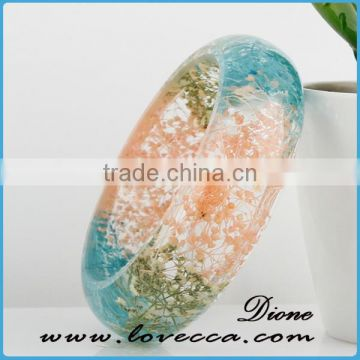 Beautiful Women Jewerly Real Resin Pressed Flower Bangle Wholesale