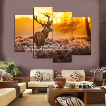 Living Room Wall Art 4 Piece Canvas Giclee Prints Nordic Deer Oil Painting for Home Decoration Modern Painting Pictures