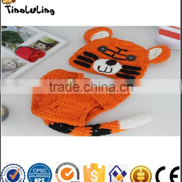 Cute Baby Tiger Pattern Crochet Knit Photography Props Hat and Diaper Cover For newborn baby