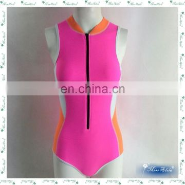 MissAdola OEM Beautiful tankini Zipper diving wetsuit Neoprene swimwear Rubber Women one piece swimsuit (CD-DS-OP-14121801B)