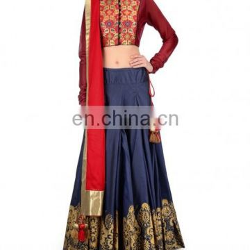 Navy Blue Block Print Lengha Set