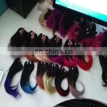 Wholesale ombre color indian hair two tone body wave hair weft short length 100% real human hair products