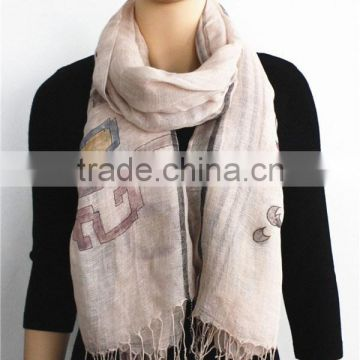 Printed Linen Scarf with fringe