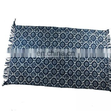 Black dye colors Hand Woven Block Print area rugs and carpet