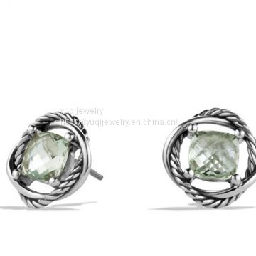 925 Silver Jewelry 7mm Infinity Earrings with Prasiolite(E-116)