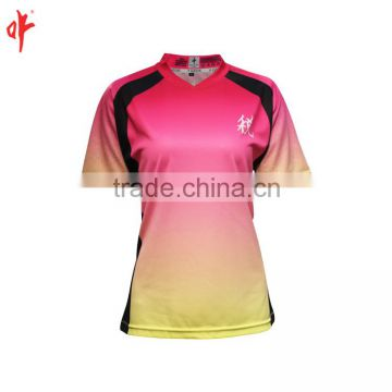 ladies dye sublimation office wear shirts embroidey logo
