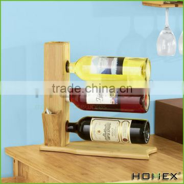 Bamboo chef wine bottle holder/ wine stand Homex-BSCI