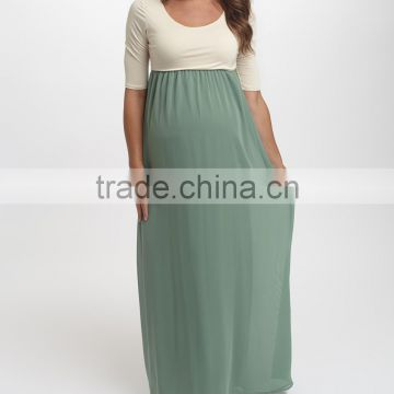 New Arrivals Maternity Dresses With Sage And Ivory Color Block Maternity Scoop Neck Maxi Dress Women Wear WD80817-1