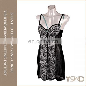 New arrival black printed lace thin ladies delicates wholesale romantic nightgowns