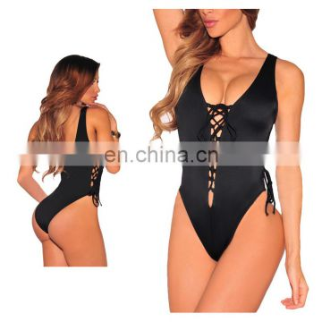 Women V Neck Lace up Bathing suit High Cut One Piece Swimsuit Monokini