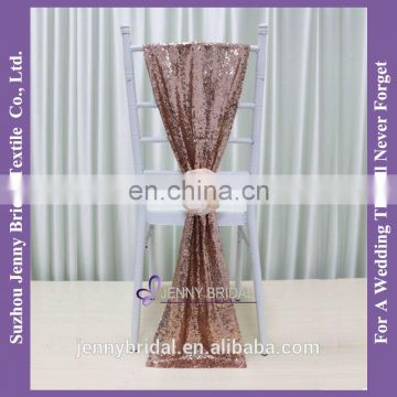 C385#24 pageant and bridal sash rose gold sequin chair cover chair sashes