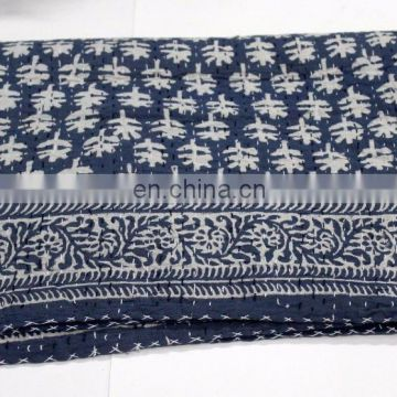 Village Women Made Kantha Bed cover Indigo Dye Kantha Quilts Hand Quilted Throw