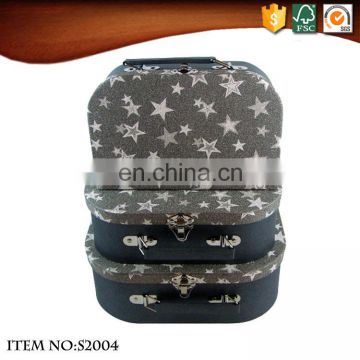 Star Pattern Black Small Storage Suitcase