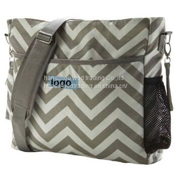 full chevron printed long shoulder diaper bags from China