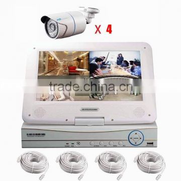 4ch 4pcs poe cameras poe nvr kit ip surveillance systems night vision with monitor p2p onvif cloud