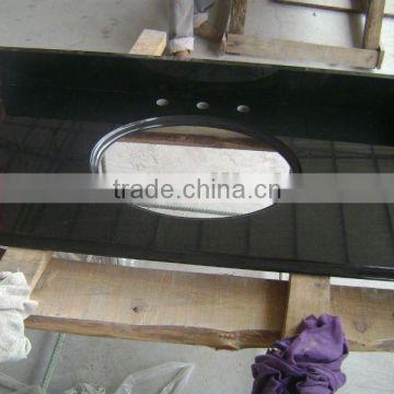 Black prefab granite bathroom countertop