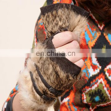 Factory price winter fashion ladies sheep fur fingeless gloves with rabbit fur