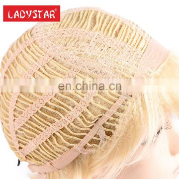 fast shipping cheap price blonde color short synthetic woman wig