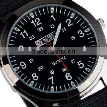 MR060 Men's Boy's Military Black Nylon Fabric Strap Sport Army Watch