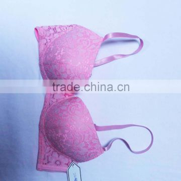 China bra factory geniebra with oil/bead push up ladies bra brands