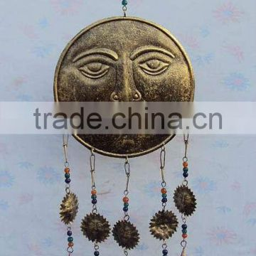 Decorative sun moon bell hangings, decorative cast iron hanging bells, antique hanging bells, Indian art hanging bells,