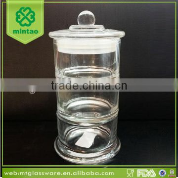 tall 3-tiers glass jar crystal glass candy jar with lid