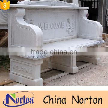 Cheap garden white marble stone bench with back NTMF-B253A