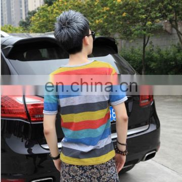 Peijiaxin Fashion Casual Style Rainbow Pattern Color Striped V Collar T shirt