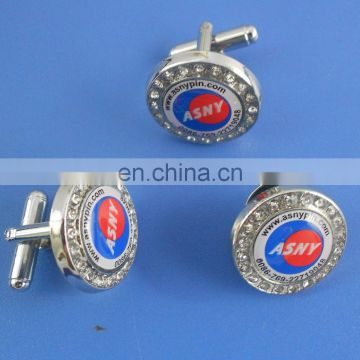 custom logo circle blank metal cufflinks wholesale