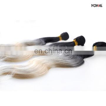 Unprocessed Raw indian human cuticle aligned hair ombre with dark roots 1b/613 remy hair bundle