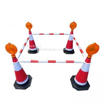 Black White Retractable Traffic Cone Connect Bar Cone Bar