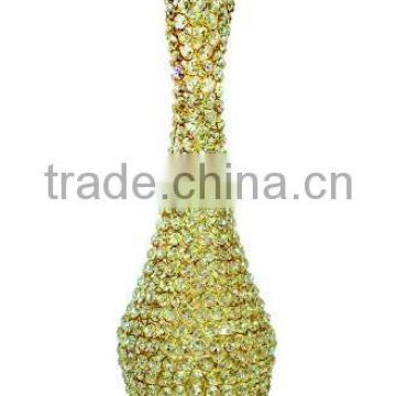 Hand made Gold Crystal flower vase pot for Home decor